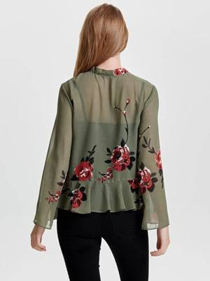 Picture of BLUSA A FIORI CON FIOCCO AL COLLO ONLY