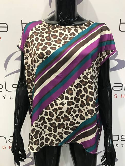 Picture of BLUSA BOTTONCINI RETRO ANIMALIER/RIGHE  VICOLO