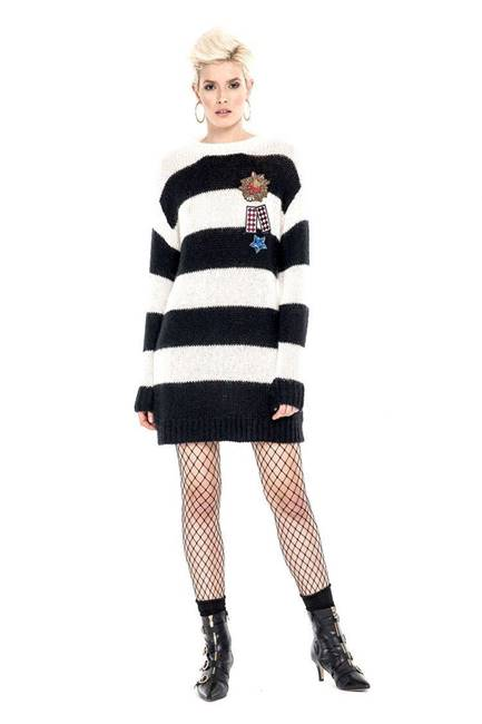 Picture of MAGLIA LUNGA GORANE M/L C/ PATCH+ SPILLE MOHAIR RIGHE RELISH