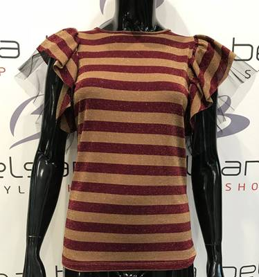 Picture of T-SHIRT RIGHE LUREX M/C VOLANT TULLE VICOLO