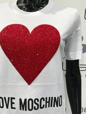 Picture of T-SHIRT CUORE SWAROSKI LOVE MOSCHINO