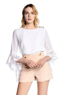 Picture of BLUSA MENTASI MANICHE VOLANT CON PIZZO RELISH