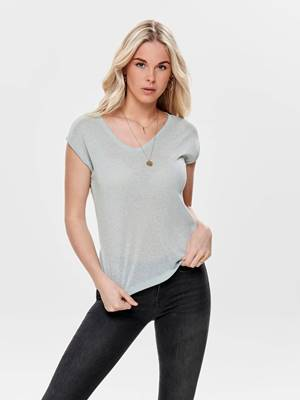 Picture of T-SHIRT SILVERY SCOLLO V LUREX ONLY
