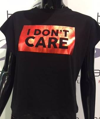 "Picture of T-SHIRT CROP LARGA ""i don't care"" SHOP*ART"