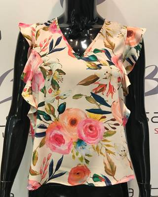 Picture of BLUSA V MAN. VOLANT FANTASIA ROSE IMPERIAL