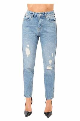 Immagine di JEANS DENIM VITA ALTA STRISCIA PAILL. STRAPPATO SHOP*ART