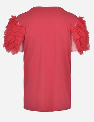 Picture of T-SHIRT DETT. ROUGE IN TULLE MANICA VICOLO