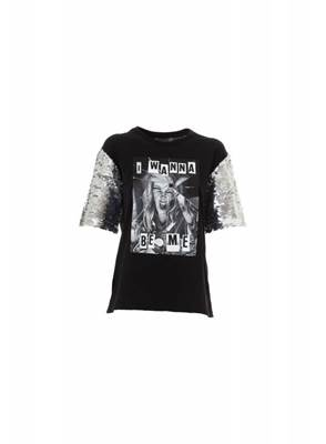 Immagine di T-SHIRT C/MANICHE IN PAILLETTES ARGENTO SHOP*ART