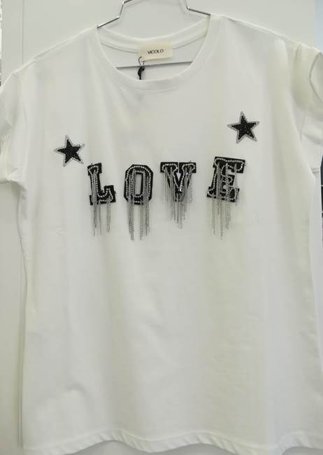 "Picture of T-SHIRT STAMPA ""LOVE"" C/STRASS+FRANGE PERLINE VICOLO"