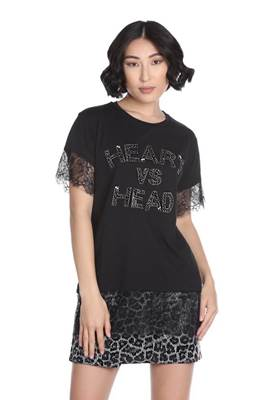 Picture of T-SHIRT HERBERT M/M C/FONDO PIZZO C/APPLICAZIONE STRASS+PIETRE RELISH