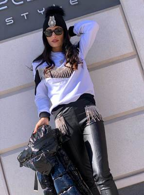 Picture of LEGGINGS ECOPELLE CATENA FRANGE STRASS ODI ET AMO