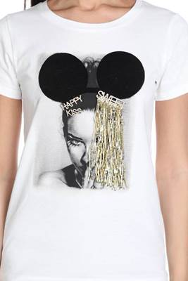 Picture of T-SHIRT HARRY M/M C/STAMPA VISO+SPILLE KISS-HAPPY-SWEET C/FRANGE PAILLETTES  RELISH