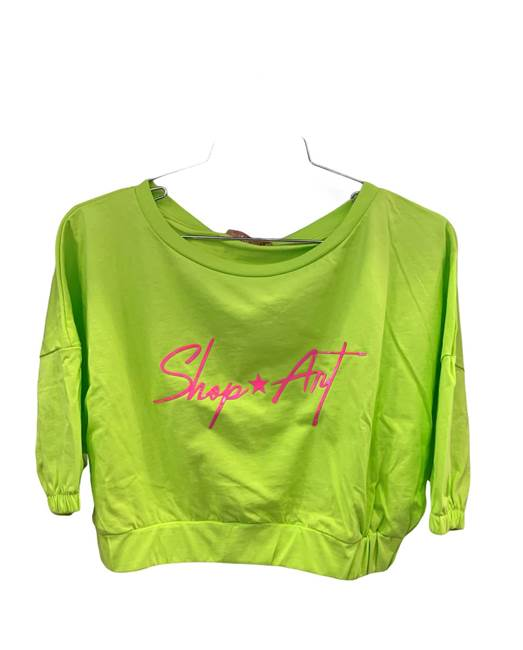 "Picture of CROP TOP FONDO MOLLA STAMPA ""Shop*art"" FUCSIA SHOP*ART"